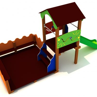 casita con patio, para parque infantil