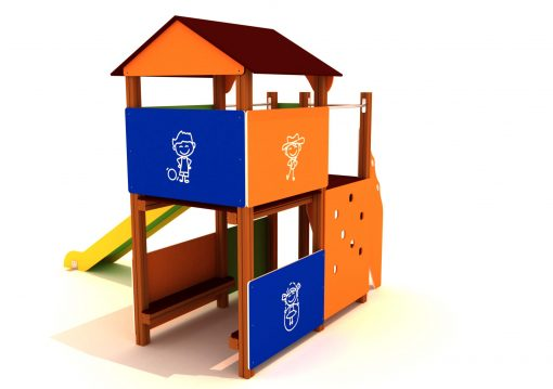 Parque infantil con forma de casa